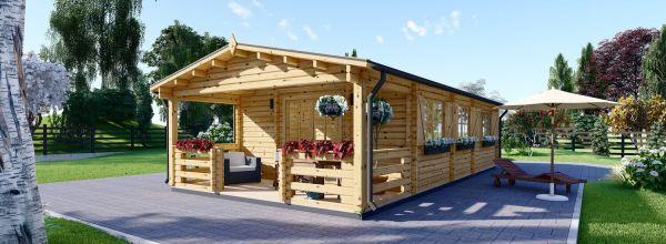 Casa in legno abitabile con porticato HYMER (Coibentata, 44+44 mm), 42 m² + 10 m²