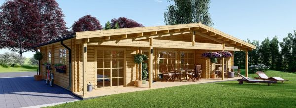 Casa in legno RIVIERA (44+44 mm), 100 m² + 20 m² di porticato