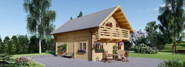 Casa in legno coibentata LANGON 95 mq con 2 balconi