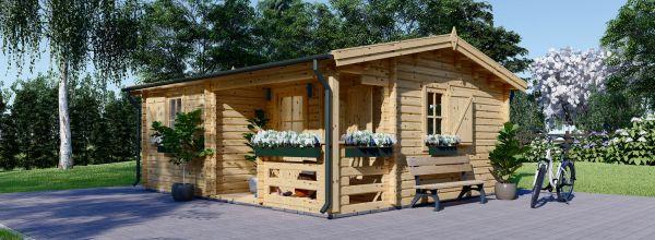 Casetta in legno con porticato NANTES (Coibentata, 44+44 mm), 6x4.7 m, 24 m² + 3.5 m²