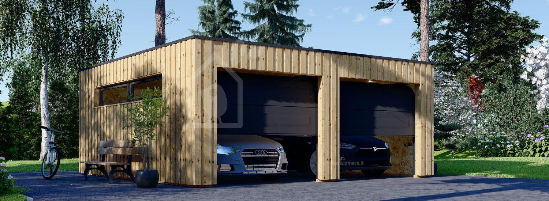 Garage in legno doppio con tetto piano STELA DUO F (struttura in legno), 6x6 m, 36 m² visualization 1