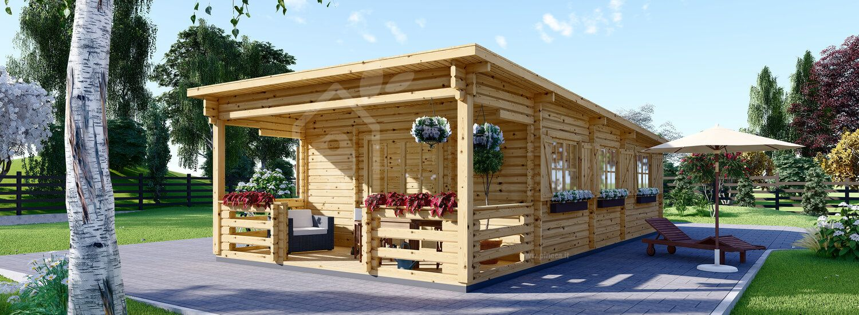 Casa in legno a tetto piatto con porticato HYMER (Coibentata PLUS, 44+44 mm), 42 m² + 10 m² visualization 1