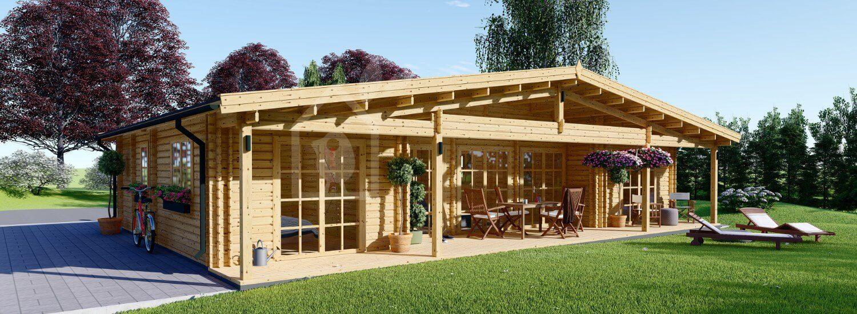 Casa in legno RIVIERA (44+44 mm), 100 m² + 20 m² di porticato visualization 1