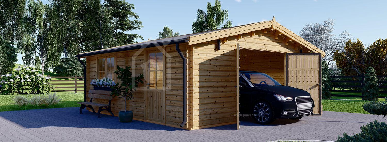 Garage in legno (44 mm) 6x6 m  visualization 1