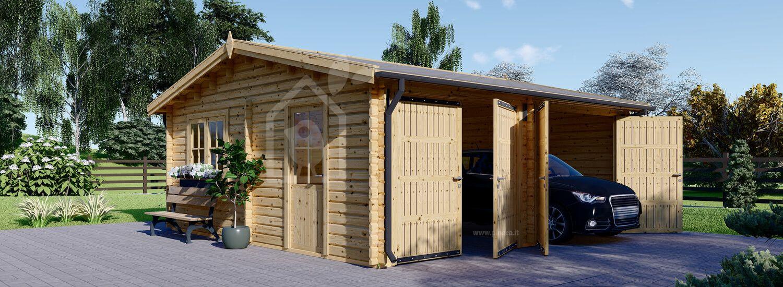 Garage in legno doppio ALTERNATIVE (44 mm), 6x6 m visualization 1
