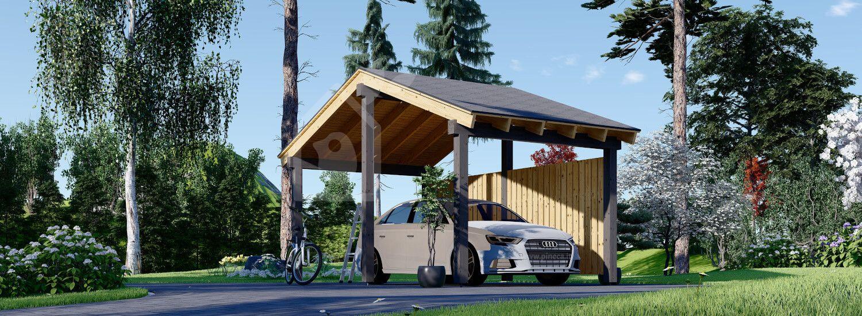 Tettoia auto in legno LUNA 3.2x6 m con una parete laterale visualization 1