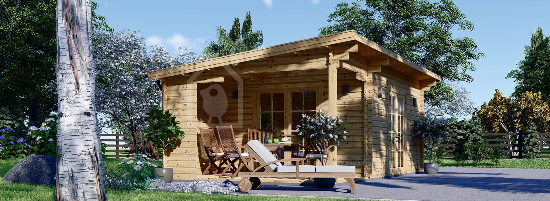 Casetta in legno da giardino CARL (34 mm), 5x4 m, 20 m² + 8 m² di porticato visualization 1