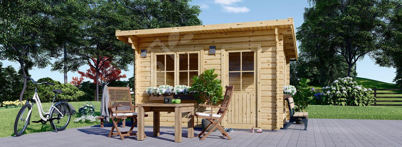 Casetta in legno da giardino a tetto piatto DREUX (Coibentata, 44+44 mm), 4x3 m, 12 m² visualization 1