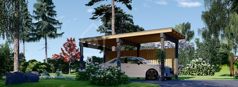 Tettoia auto in legno LUNA F 3.2x6 m con una parete laterale visualization 1