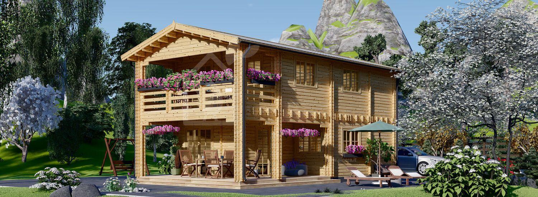 Casa in legno abitabile con porticato TOULOUSE (Coibentata, 44+44 mm), 100 m² + 20 m² visualization 1