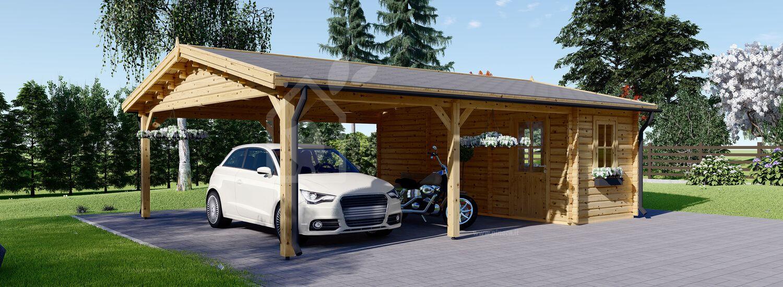 Tettoia auto in legno con ripostiglio attrezzi (44 mm) 6x7.75 m visualization 1
