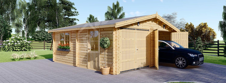 Garage in legno doppio (44 mm) 6x6 m visualization 1