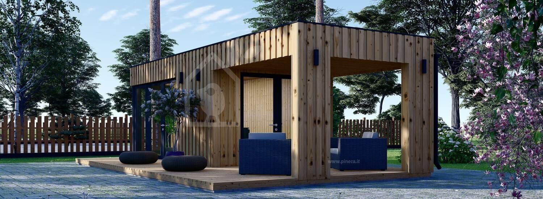 Ufficio in legno da giardino PREMIUM (Coibentato, pannelli SIP), 5x3 m, 15 m² di porticato 9 m² visualization 1