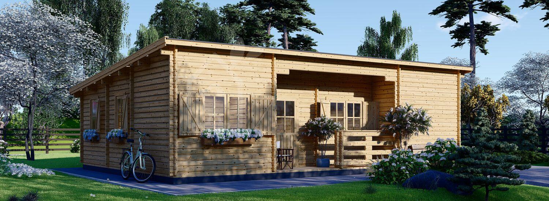 Casa in legno abitabile a tetto piatto UZES F (Coibentata PLUS, 44+44 mm), 70 m² visualization 1