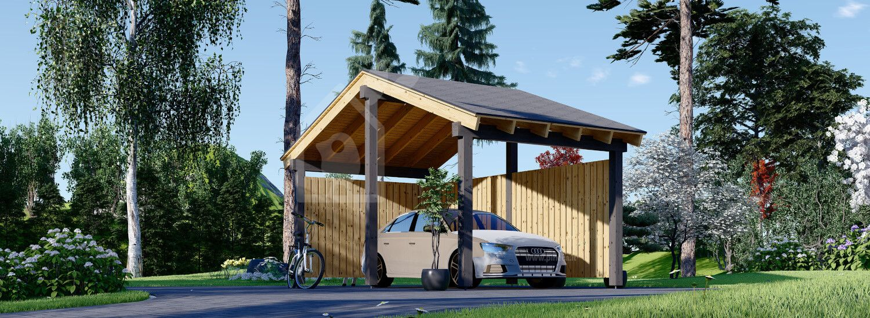 Tettoia auto in legno LUNA 3.2x6 m con parete a forma di L visualization 1