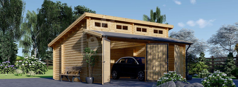 Garage in legno doppio TWIN (44 mm) 6x6 m  visualization 1