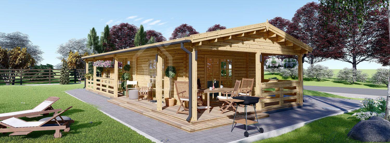 Casa in legno con porticato TOSCANA (66 mm), 53 m² + 29 m² visualization 1