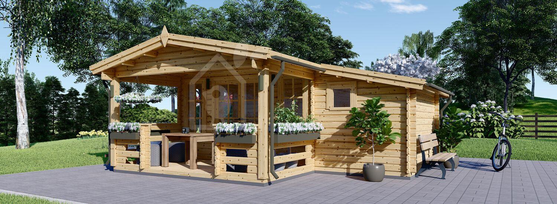 Casetta da giardino ISLA (66 mm) 18 mq + 7 mq di porticato visualization 1