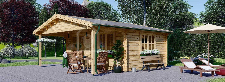 Casetta in legno da giardino CAMILA (Coibentata, 44+44 mm), 6x6 m, 36 m² visualization 1