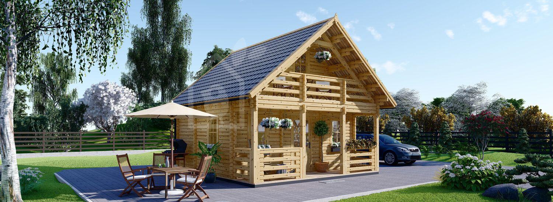 Casa in legno abitabile LIVINGTON (Coibentata PLUS, 44+44 mm), 50 m² visualization 1