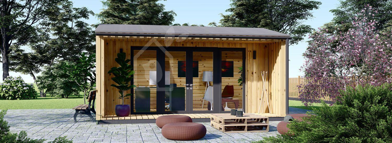 Ufficio in legno da giardino TINA (Coibentato, 44 mm + rivestimento), 5.5x5 m, 22 m² visualization 1