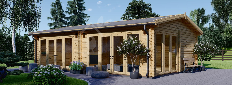 Casa in legno MARINA (Coibentata, 44+44 mm), 8x6 m, 48 m² visualization 1