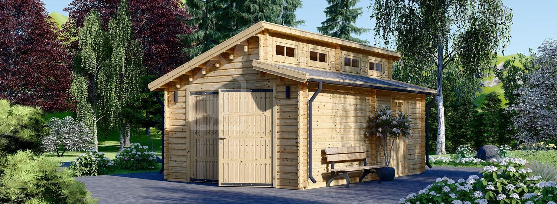 Garage in legno TWIN (44 mm), 4x6 m visualization 1