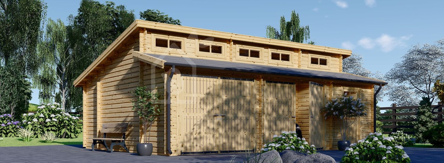 Garage in legno doppio TWIN (44 mm) 8x6 m visualization 1