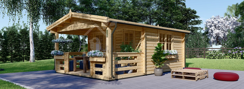 Casetta in legno da giardino SHANON (66 mm), 4x5.75 m, 16 m² + 7 m² di porticato visualization 1