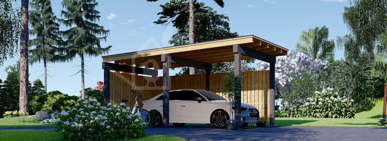 Tettoia auto in legno LUNA F 3.2x6 m con parete a forma di L visualization 1