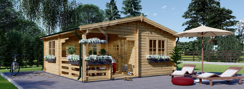 Casetta in legno da giardino OLIVIA (66 mm), 6x6 m, 27 m² + 8 m² di porticato visualization 1