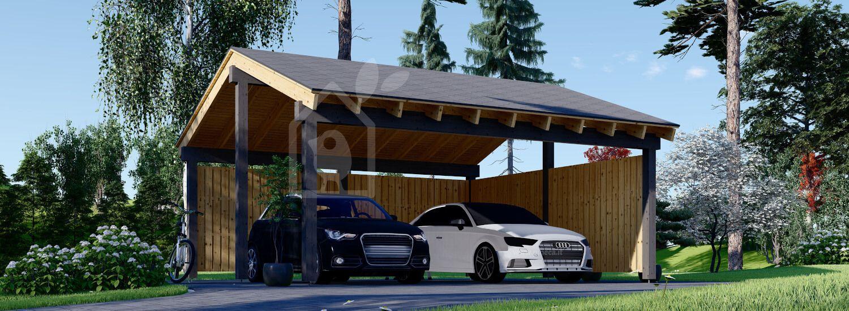 Tettoia auto in legno doppia LUNA DUO 6x6 m con parete a forma di L visualization 1
