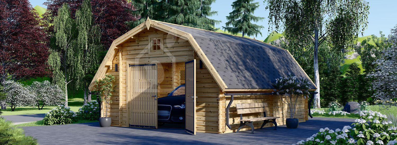 Garage in legno BARN (44 mm), 5x6 m, 30 m² visualization 1