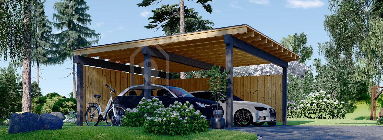 Tettoia auto in legno doppia LUNA DUO F 6x6 m con parete a forma di L visualization 1