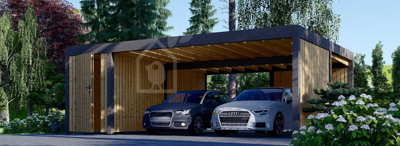 Tettoia auto in legno doppia con una parete laterale e ripostiglio attrezzi LUNA DUO F PLUS, 7.6x5.6 m visualization 1