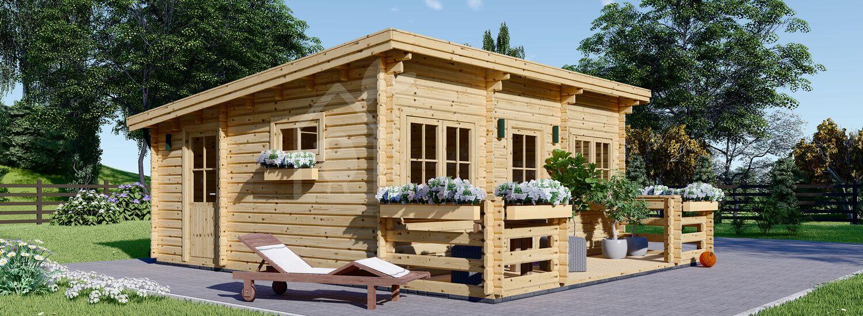 Casa in legno abitabile a tetto piatto con porticato ALTURA F (Coibentata PLUS, 44+44 mm), 31m² + 8 m² visualization 1