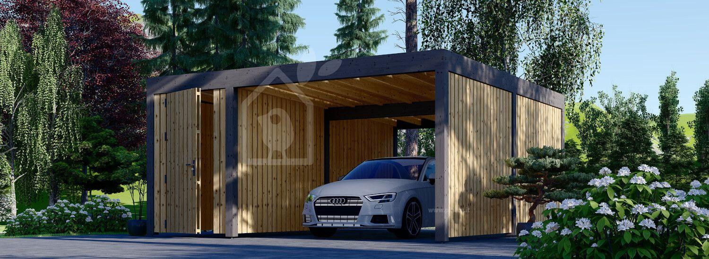 Tettoia auto in legno con una parete laterale e ripostiglio attrezzi LUNA F PLUS, 4.9x5.6 m visualization 1