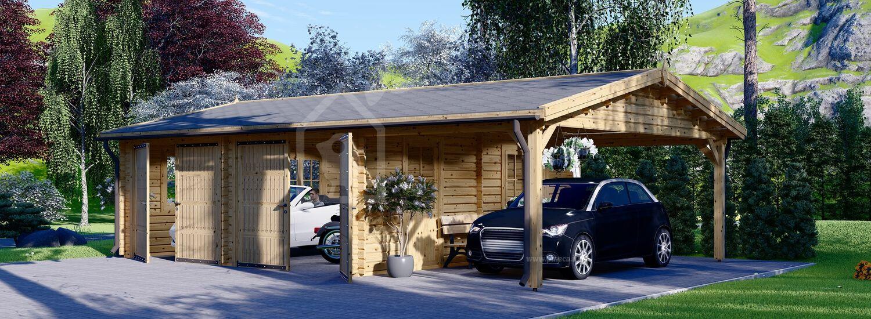 Garage in legno doppio (44 mm) 6x6 m + tettoia auto in legno 3x6 m visualization 1