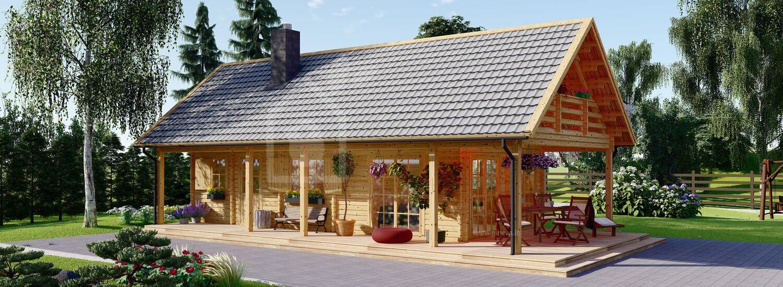 Casa in legno con porticato AURA (Coibentata, 44+44 mm), 100 m² + 35 m² visualization 1