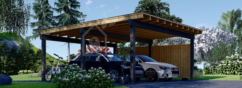 Tettoia auto in legno doppia LUNA DUO F 6x6 m con una parete laterale visualization 1