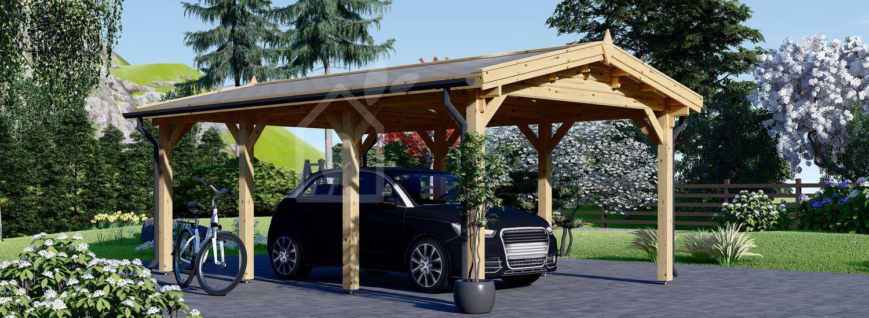 Carport tettoia auto in legno CLASSIC 3x6 m visualization 1