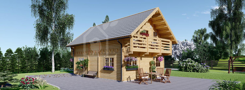 Casa in legno coibentata LANGON 95 mq con 2 balconi visualization 1
