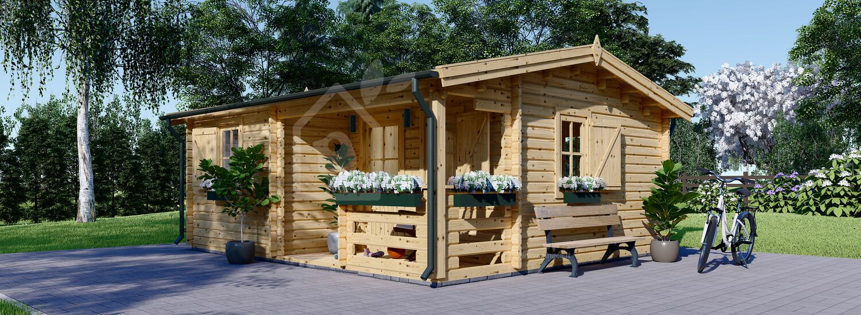 Casetta in legno con porticato NANTES (Coibentata, 44+44 mm), 6x4.7 m, 24 m² + 3.5 m² visualization 1