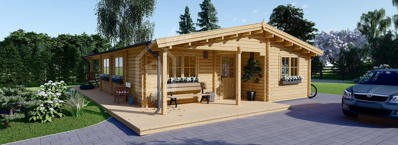 Casa in legno LINDA (44+44 mm), 78 m² + 15 m² di porticato visualization 1