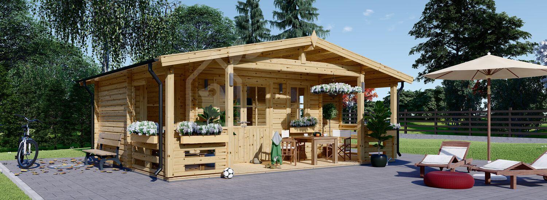 Casetta in legno da giardino PARIS (44 mm), 6.7x5.7 m, 21 m² + 11 m² di porticato visualization 1