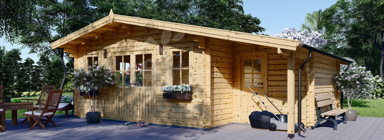 Casetta in legno da giardino CLARA con deposito attrezzi (66 mm), 7x4 m, 28 m² visualization 1