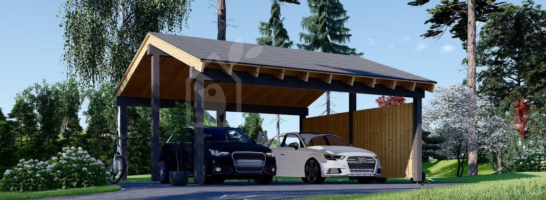Tettoia auto in legno doppia LUNA DUO 6x6 m con una parete laterale visualization 1