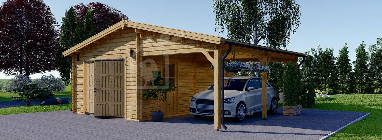 Garage in legno con tettoia auto (44 mm), 4x6 m + 3x6 m (tettoia) visualization 1