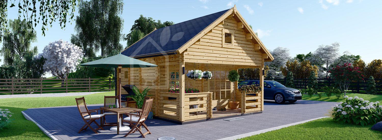 Casa in legno con mezzanino e porticato ALBI (44 mm), 20 m² + 8 m² visualization 1