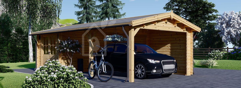 Tettoia auto in legno con ripostiglio attrezzi (44 mm) 4x7.5 m visualization 1